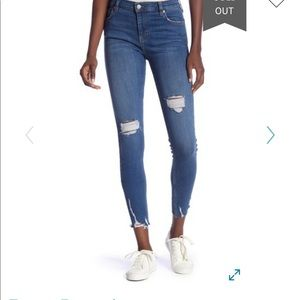Free People Shark Bite Skinny Jeans Blue